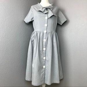 Shabby Apple Gray Button Down Dress